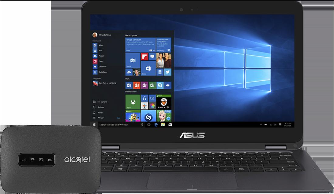 Laptop Asus UX360 + router LinkZone