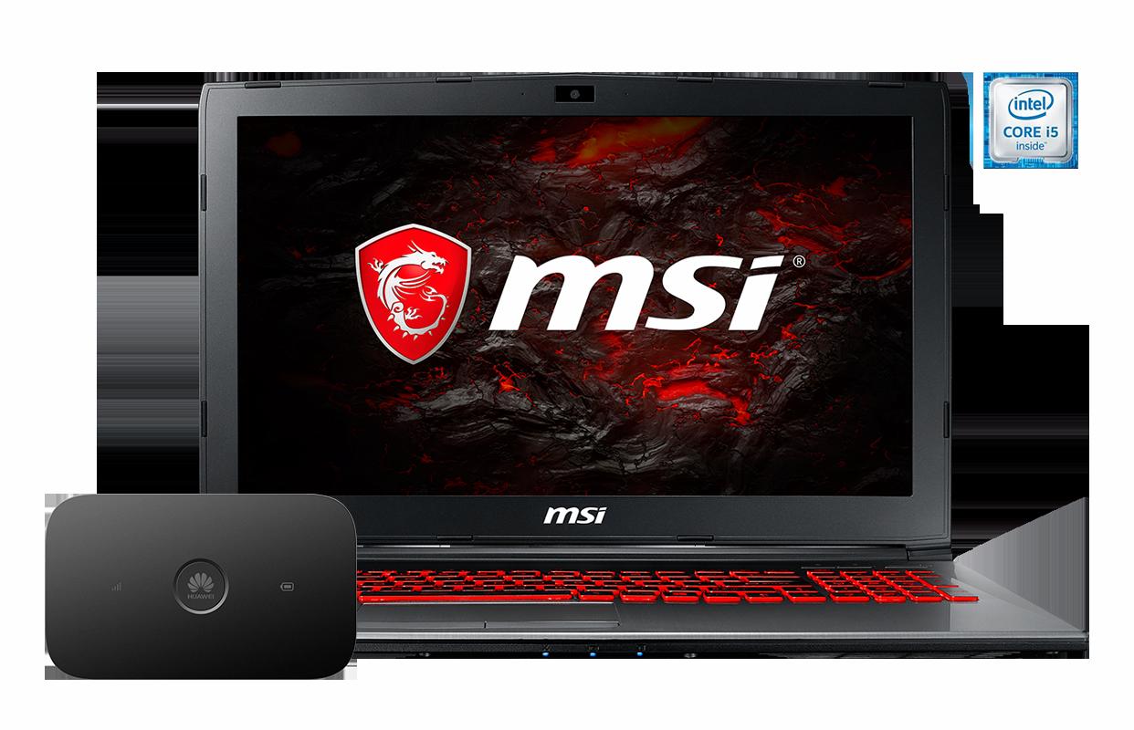 Laptop MSI GV62 7RE-2204PL i5 + router E5573Cs