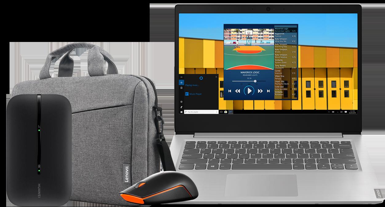 Laptop Lenovo S145-14 + mysz Lenovo Wireless 500 + torba Lenovo + router E5576