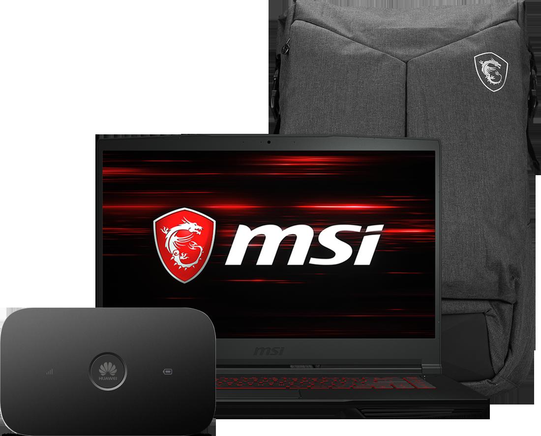 Laptop MSI GF63 + router E5573Cs + plecak UZZ
